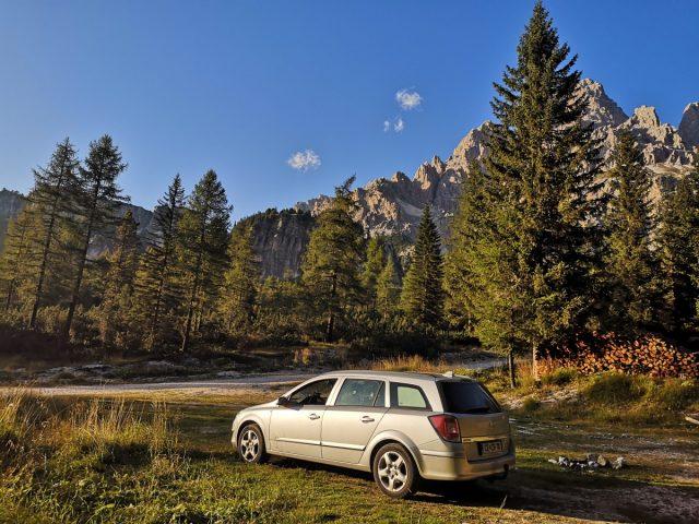 Vikend v dolomitih, parkirišče za kampiranje