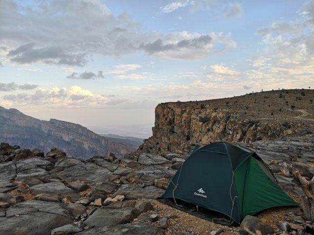 Oman camping, canyon Jebel Shams