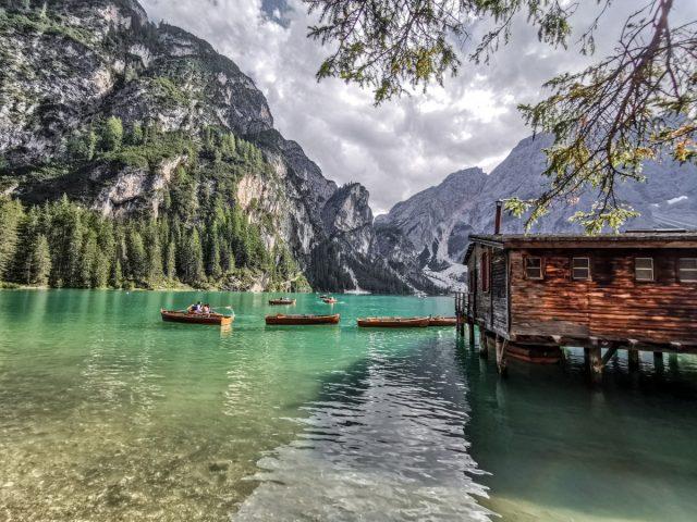 Idyllic Lake Braies in the Dolomites: lake braies
